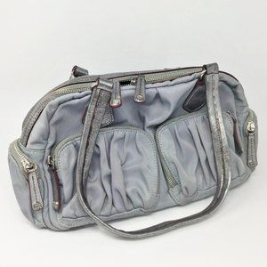 MZ Wallace Blue Gray Nylon Handbag Satchel
